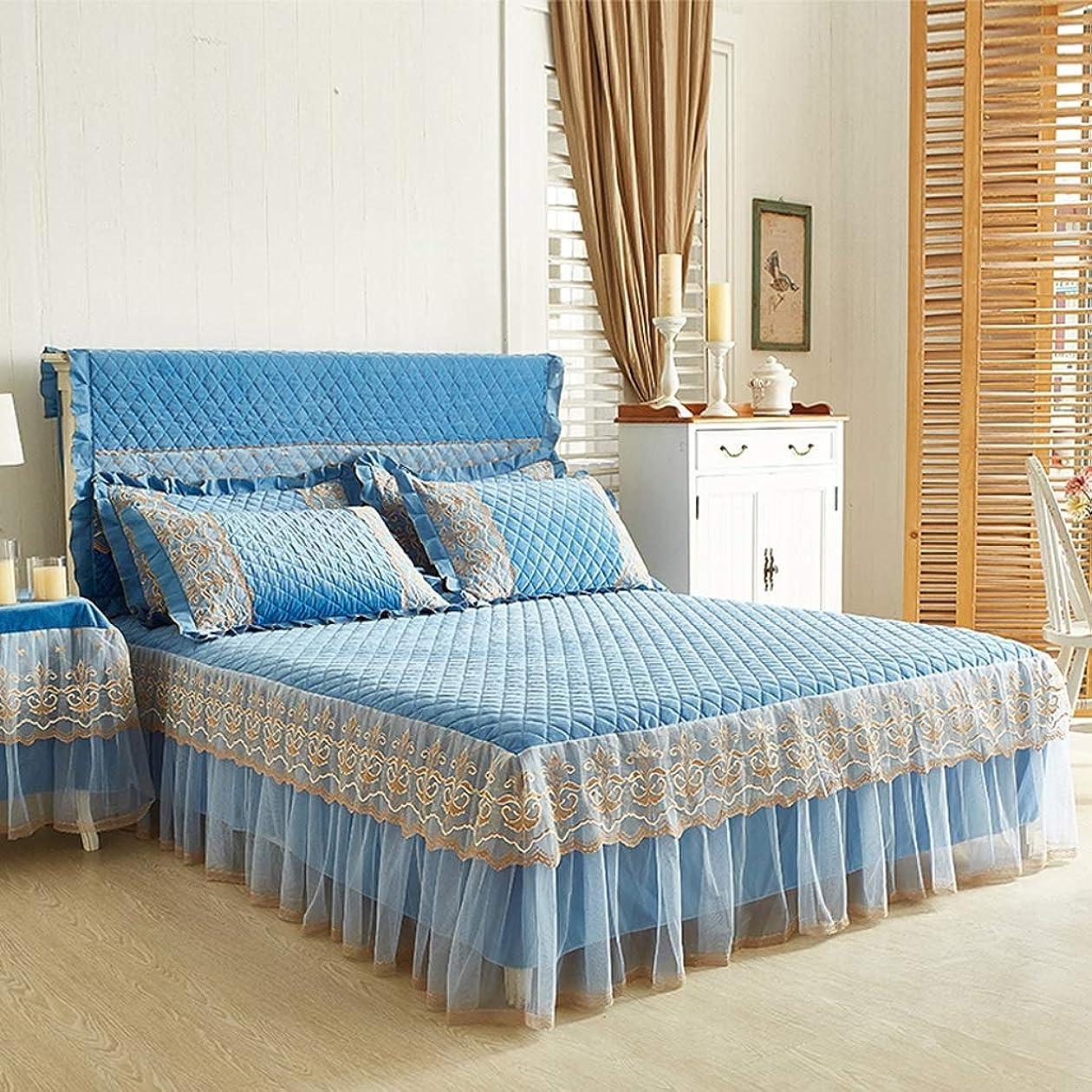 体章会う高級コットンスエードベッドスカートスーツ機洗える寝具プリーツベッドカバー弾性バンド固定滑り止め保護ケース - ほこり (色 : C blue, サイズ さいず : 180cmx220cm+pillowcases)