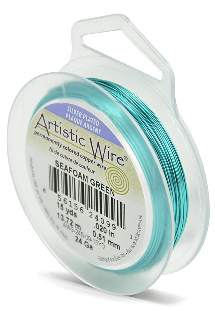 Artistic Wire 24-Gauge Silver Plated Seafoam Green Wire, 15-Yards