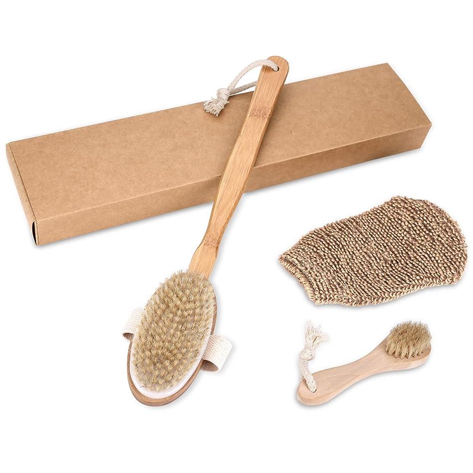 Bath Shower Brushing Premium Dry Body Brush Scrubber Set-Long Handle Solid Wood Boar Bristle Body Brush+Short Handle Exfoliating Face Brush+Plant Fibres Bath Gloves(Gift Box)