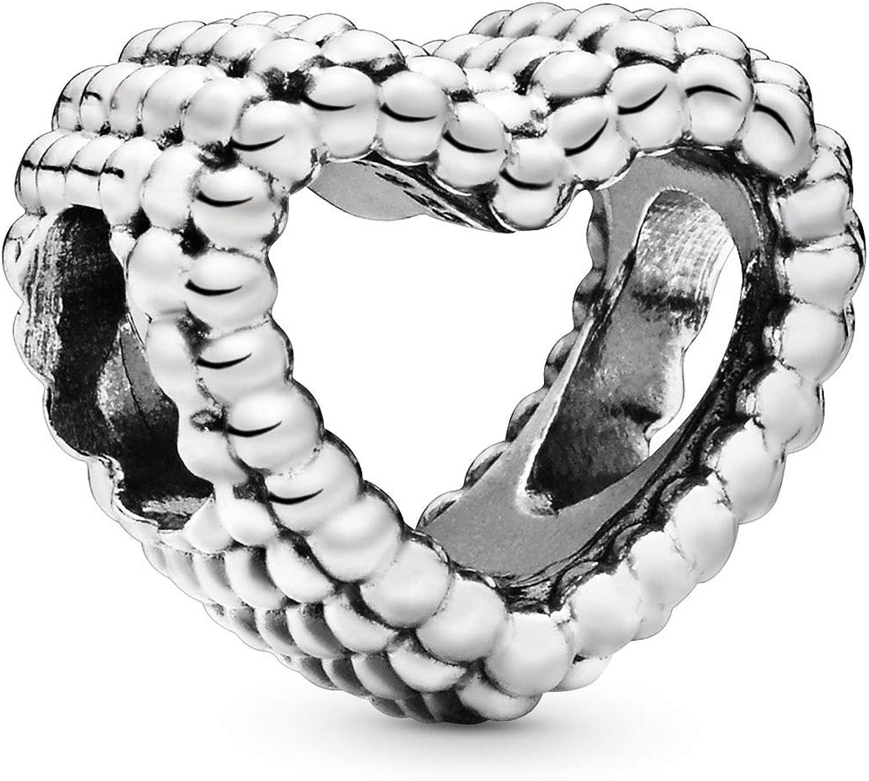 PANDORA Beaded Heart 925 Sterling Silver Charm - 797516