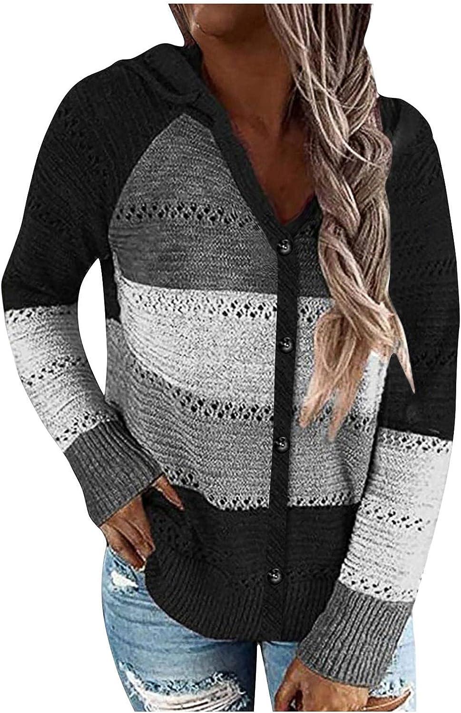 TTzhiye Cardigan Sweaters for Women Plus Size, Teen Girls Button Up Crewneck Sweatshirts Color Block Casual Blouses