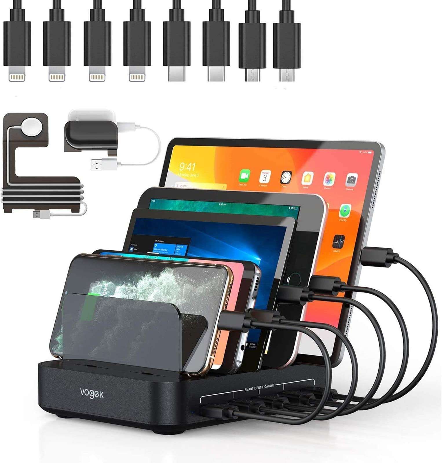 Vogek 50W Charging Station for Multiple Devices, 5 USB Fast Ports with 8 Short Mixed Cables Watch & Airpod Stand Included for Cell Phones, Smart Phones, Tablets, iWatch, Airpods -Black