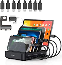Charging Station, Vogek 50W 10A 5-Port USB Charging Station for Multiple Device with 8 Short Mixed Cables Watch & Airpod S...