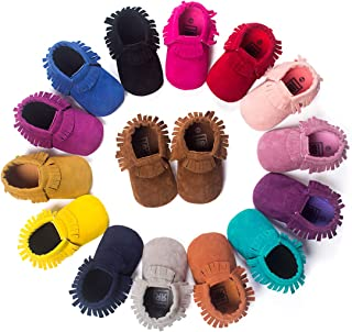 Infant Toddler Baby Boys Girls Cozy Moccasins Tassels Suede Leather Sole First Walkers Soft Crib Shoes Multi-Colors