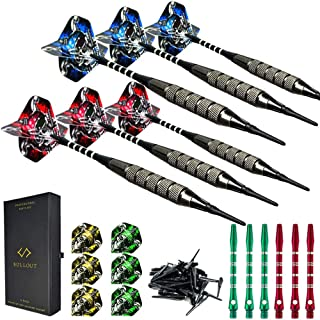 Soft tip Darts Set with Case - Plastic Tip Dart Sets 18 Grams - 12 Aluminum Shafts with O'rings - 12 Skull Flights (Standard) and Extra 60 Tips for Electronic Dart Board