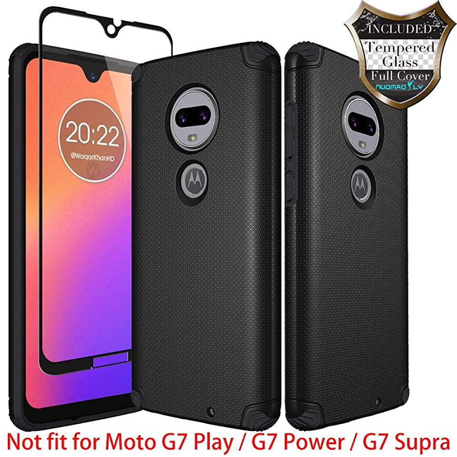 Moto G7 Case, Moto G7 Plus Case with [Tempered Glass Screen Protector] Nuomaofly Metal Plate Back for Magnetic Car Mounts Texture Armor Protection for Motorola Moto G7 / G7 Plus (Black)