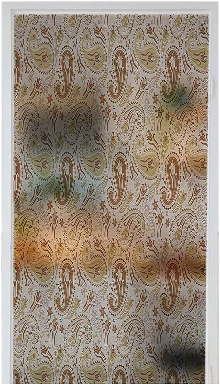 Window Self-Adhesive At the price of Max 88% OFF surprise Film Stained Decoration Flora Paisley Glass