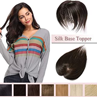 100% Real Human Hair Silk Base Top Hairpiece Clip in Hair Topper for Women Crown in Hand-made Toppee Middle Part with Thinning Hair Loss Hair #2 Dark Brown 10''20g