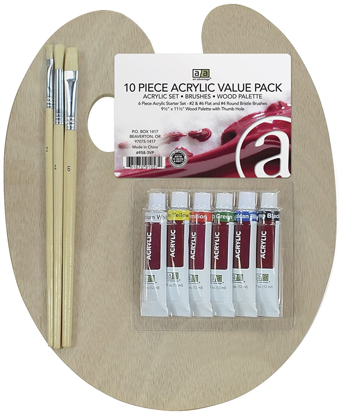 Art Advantage Wood Palette with Paint Set and Brushes, 9.5 by 11.5-Inch, Acrylic