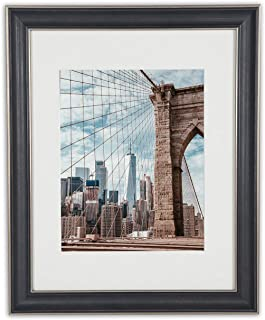 Golden State Art, 11x14 Photo Frame, Silver Beige, Black & Dark Brown Pewter Panel, with Ivory Mat for 8x10 Pictures & Real Glass