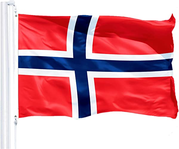 G128 Norway Norwegian Flag 3x5 Feet Printed 150D Indoor Outdoor Vibrant Colors Brass Grommets Quality Polyester US USA Flag Much Thicker More Durable Than 100D 75D Polyester