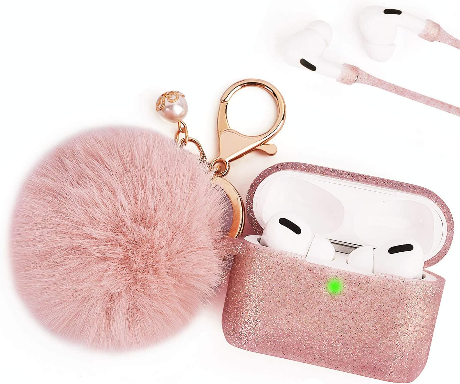 Amazon Com Case For Airpods Pro Bling Airpod Pro Protective Cover Case For Apple Airpods Pro Charging Case Filoto Cute Air Pods 3 Accessories Silicone Case Keychain Pompom Skin Strap Rose Gold Electronics