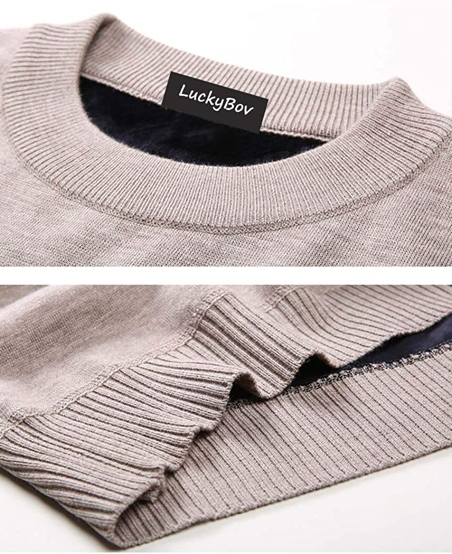 LuckyBov Men Thick Thermal Shirt Winter Long Sleeve Crew Neck Tee with Fleece Lining Warm