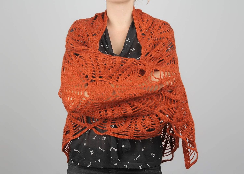 Crochet Shawl Of Terracotta color