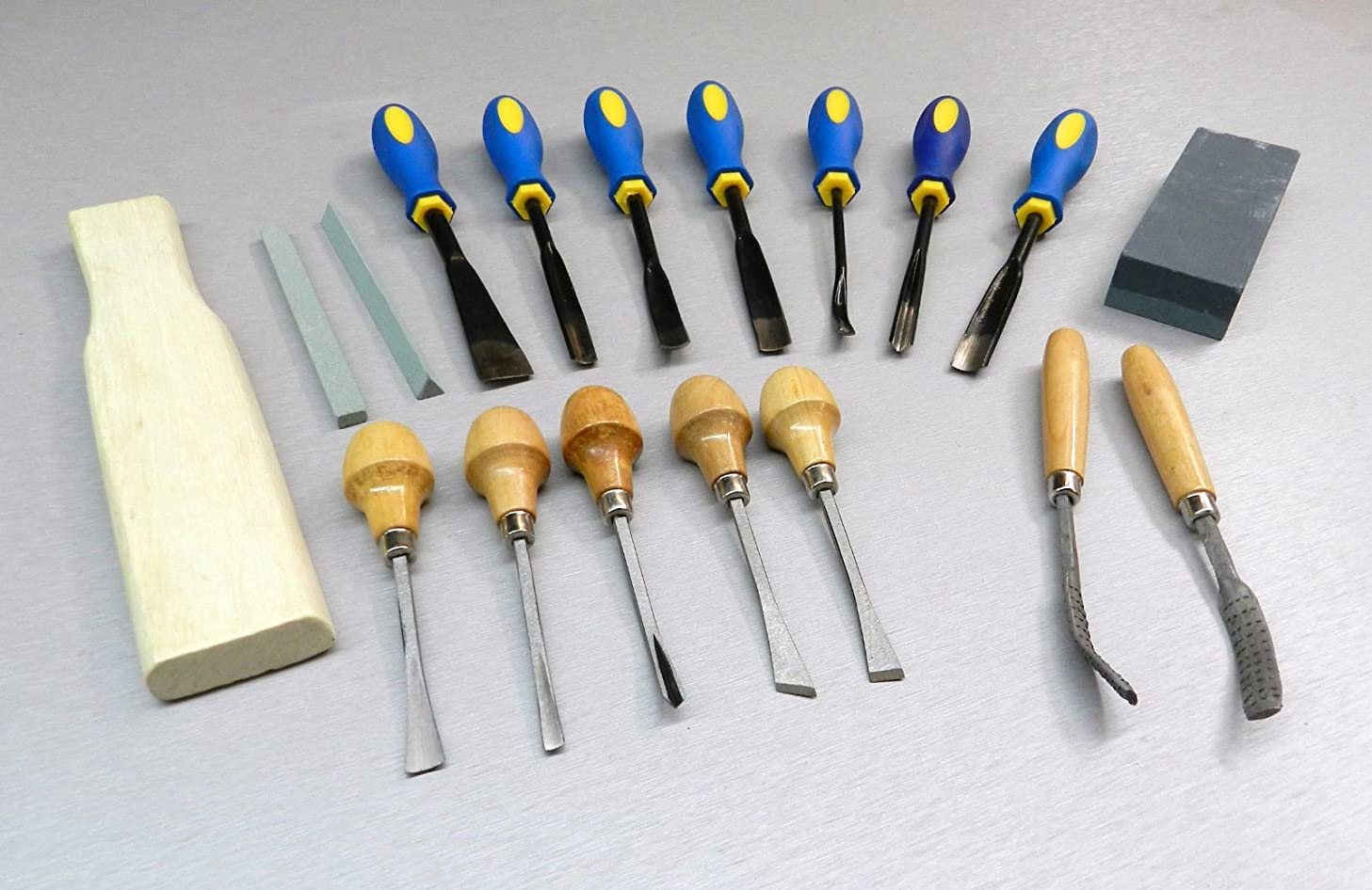 18 PC WOOD CARVING SET CARVERS TOOLS CHISELS KIT WOOD WORK CRAFT IN CLOTH POUCH (LZ 3.9 FRE) NOVELTOOLS