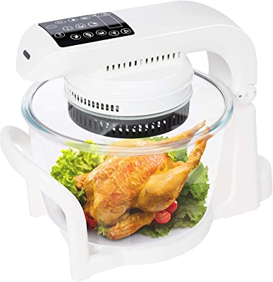 7.4 QT Air Fryer Oven, 9 Mode Glass Air Fryer Toaster Oven with LED Digital Touch Screen, 1200W Oilless Convection Oven Fryer Cooker with Recipes, Food Holder, Pan Clip, Pizza Pan - White
