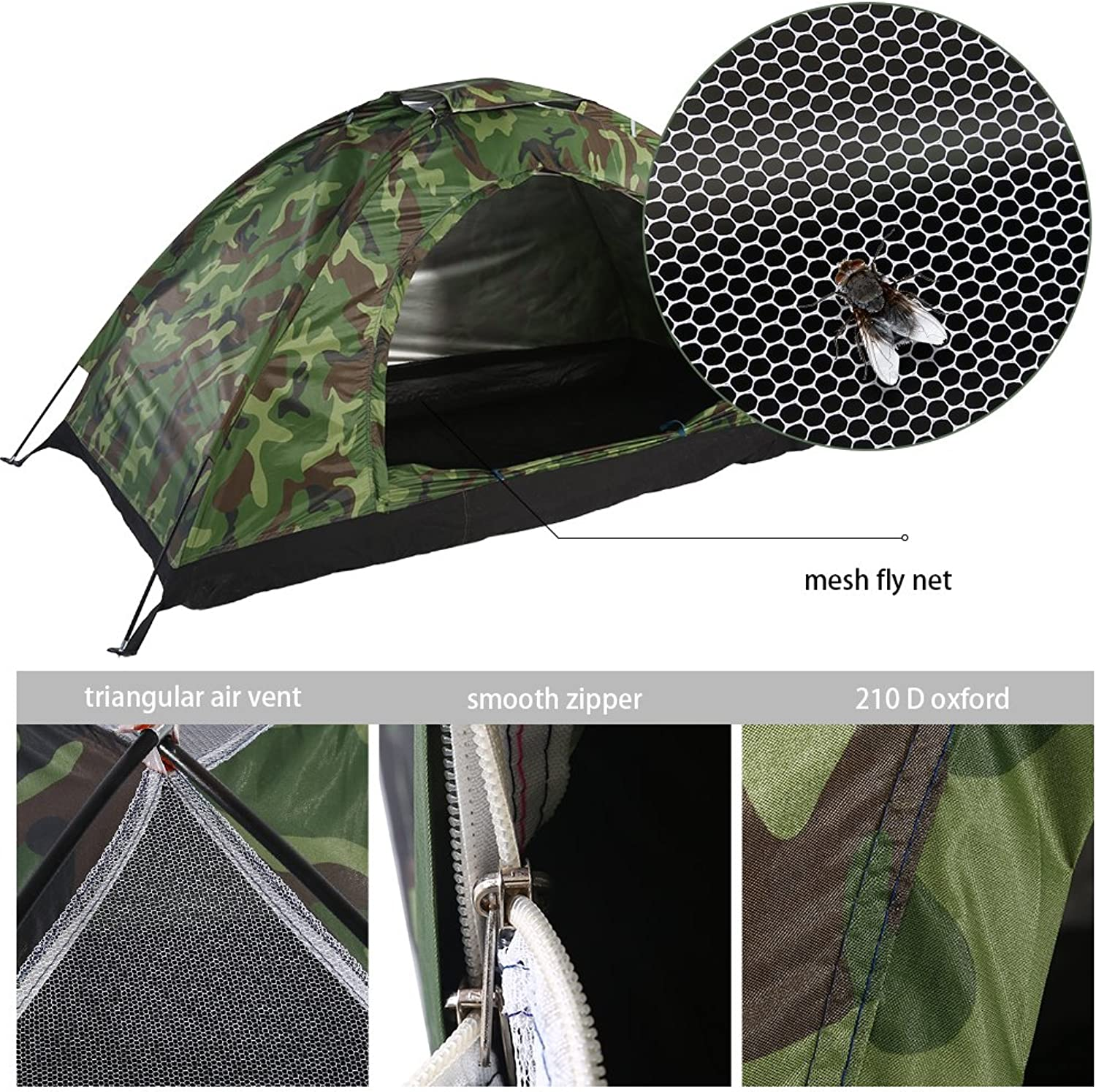 Outdoor Camouflage UV Predection Waterproof One Person Tent for Camping Hiking