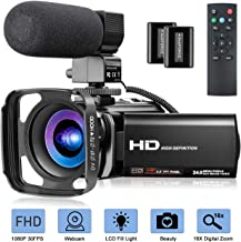 Video Camera with Microphone, FHD 1080P 30FPS 24MP Camcorder YouTube Vlogging Cameras 16X Digital Zoom 3.0 Inch 270� Rotation Screen Webcam Video Camera Recorder with Hood, Remote and 2 Batteries