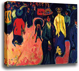 Canvas Print Wall Art - Street, Dresden - by Ernst Ludwig Kirchner - Giclee Printed on Stretched Gallery Wrap - 16x12 inch