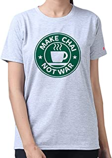 PrintOctopus Graphic Printed T-Shirt for Girls | Make Chai Not War Tshirt | Funny Tshirts for Chai Lovers | Round Neck T Shirt | 100% Cotton T-Shirt | Top for Girls