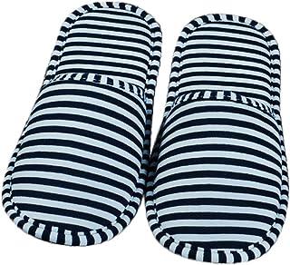 Cosanter 1 Paires Pliable Chaussons Portable Pantoufles Rayures Bleues pour Hôte Voyage