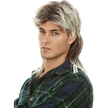 Mullet Wigs for Men 80s Costumes Mens Blonde Mullet Wig Joe Tiger White Trash Costume Accessories