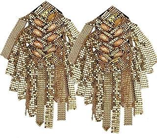 DMMW Tableros de Hombro 2 UNIDS Unisex Rhinestone de Oro Borla Cadena Epaulet Metal Hombreras Punk Fringe Hombro Vintage Insignia Uniforme de Ceremonia Accesorios para Hombres Mujeres (Color : Oro)