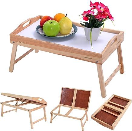Wood Bed Tray Breakfast Laptop Desk Food Serving Hospital Table Folding Legs