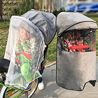 Dudolala Bicycle Baby Rear Seat Canopy Cover, Bike Safe Chair Waterproof Foldable Sunshade Rain Bicycle Cover, Super Large Four Seasons Universal Outdoor Travel Gray