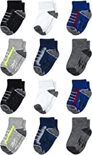 Reebok Infant & Toddler Boys Quarter Cut Socks with Nonslip Traction Grip (12 Pack)
