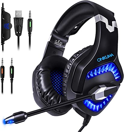 Cuffie Gaming per PS4, Cuffie Over Ear Cuffie Cancellazione Rumore con Microfono Controllo del Volume e Luce LED Cuffie da Gaming per PS4 Xbox One Nintendo Switch PC Laptop (Blu) - Trova i prezzi più bassi