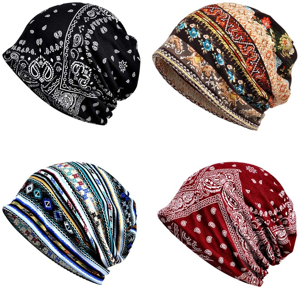 4 Memphis Mall PCS Women Baggy Slouchy Snood Max 70% OFF Cap Hat Beanie Chemo