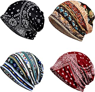 4 PCS Chemo Caps, Womens Baggy Slouchy Beanie Hat Sport Casual Headwear Wide Headbands Scarf Sleep Chemo Slouchy Snood Hats Cancer Headwear Head Wrap Sweatband for Cancer Patients Yoga Running