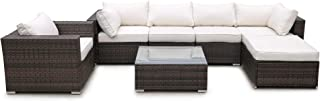 Civil 7 Piece Outdoor Patio Furniture Wicker Rattan Sofa Set with Cushions