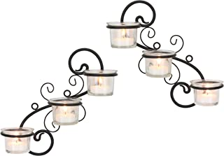 Stonebriar Decorative Tea Light Candle Holder Wall Sconce Set, Contemporary Home Decor for Living Room, Hallway, or Bedroom, Black, Metal, Set of 2