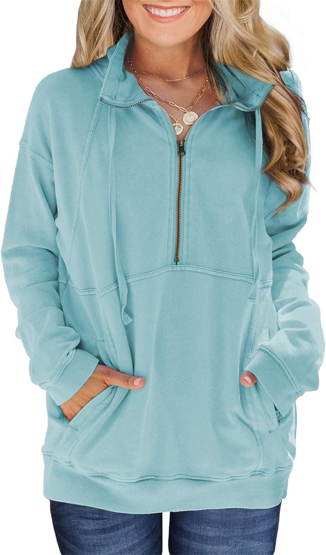 VICHYIE Women Sweatshirts Long Sleeve Zipper No Hoodie Stand Collar Pullover Tops with Pocket