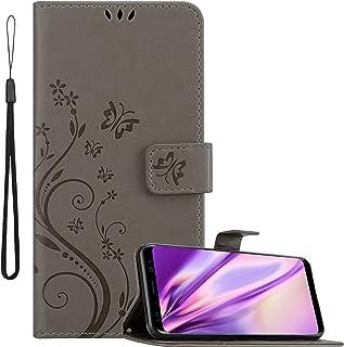 Cadorabo Hülle für Samsung Galaxy S8 in FLORAL GRAU Handyhülle im Blumen Design mit Magnetverschluss, Standfunktion und 3 Kartenfächern Case Cover Schutzhülle Etui Tasche