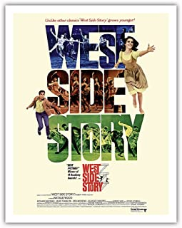 Pacifica Island Art West Side Story - Starring Natalie Wood and Richard Beymer - Vintage Film Movie Poster c.1961 - Fine Art Print - 11in x 14in