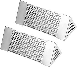 2st BBQ rökare värmebeständigt med diffusionshål rökgenerator röknätrör för elektriska gaskol bärbara grillar(triangle)