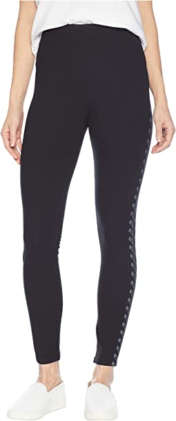 Signature Waistband Leggings with Gunmetal Foil Placement Print