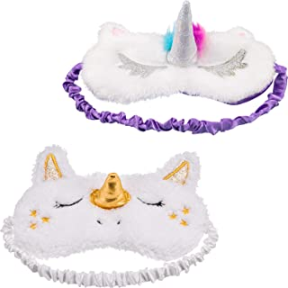 Maxdot 2 Pieces Unicorn Sleeping Mask Cute Unicorn Horn Plush Blindfold Eye Cover (Gold and Multicolor)