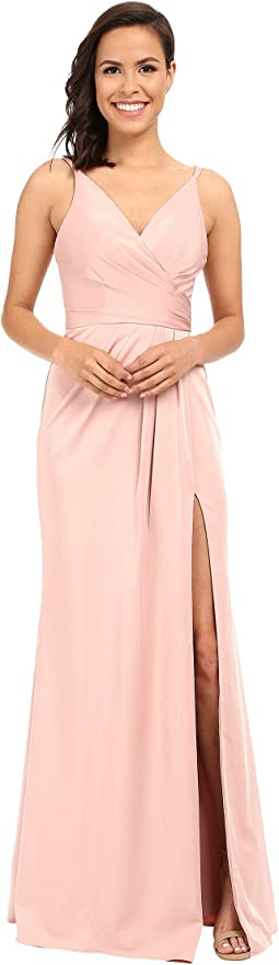 Faviana Faille Satin V-Neck Gown with Draped Skirt