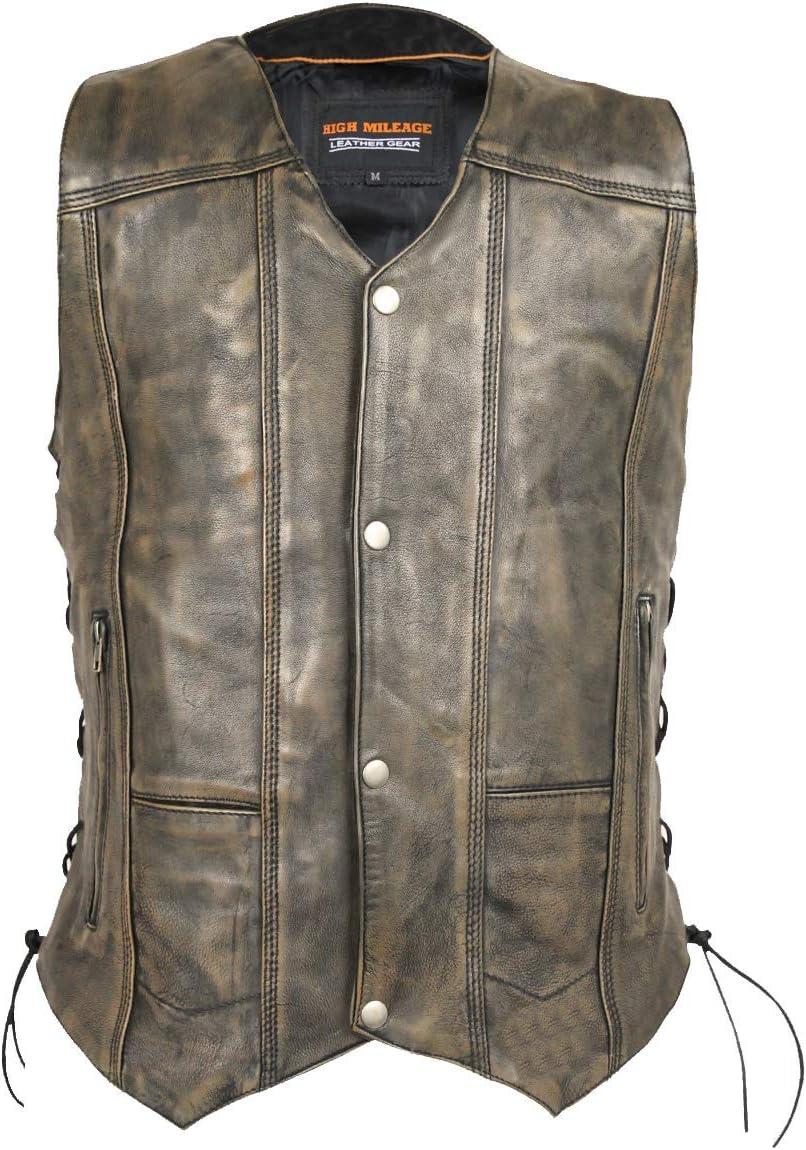 Men's High Mileage Distressed Brown 10 Pocket Vest