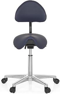 hjh OFFICE 608910 Taburete Top Work 20 Piel sintética Azul Forma sillín Silla de Trabajo