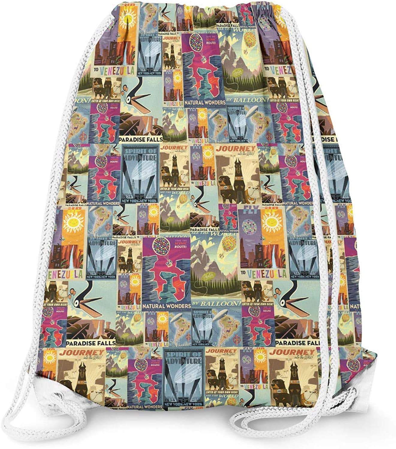 Pixar Up Travel Posters Drawstring Bag - Large (13.3 x 17.3)