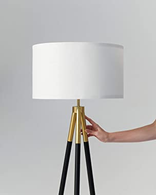 Brightech Levi - Black and Gold Tripod Floor Lamp for Living Rooms - Match Your Bedroom's Mid Century Modern or Farmhouse