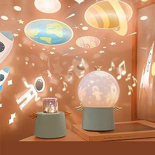 Lámpara de Proyector Infantil Estrellas, Lámpara Proyector Infantil Luz Nocturna con Rotación y Música, Película de Proyección Giratoria de 360 grados, para Cumpleaños, Navidad, Cuarto de los Niños