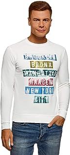 oodji Ultra Men's Printed Cotton Sweatshirt, White, UK 34 / EU 44 / XS