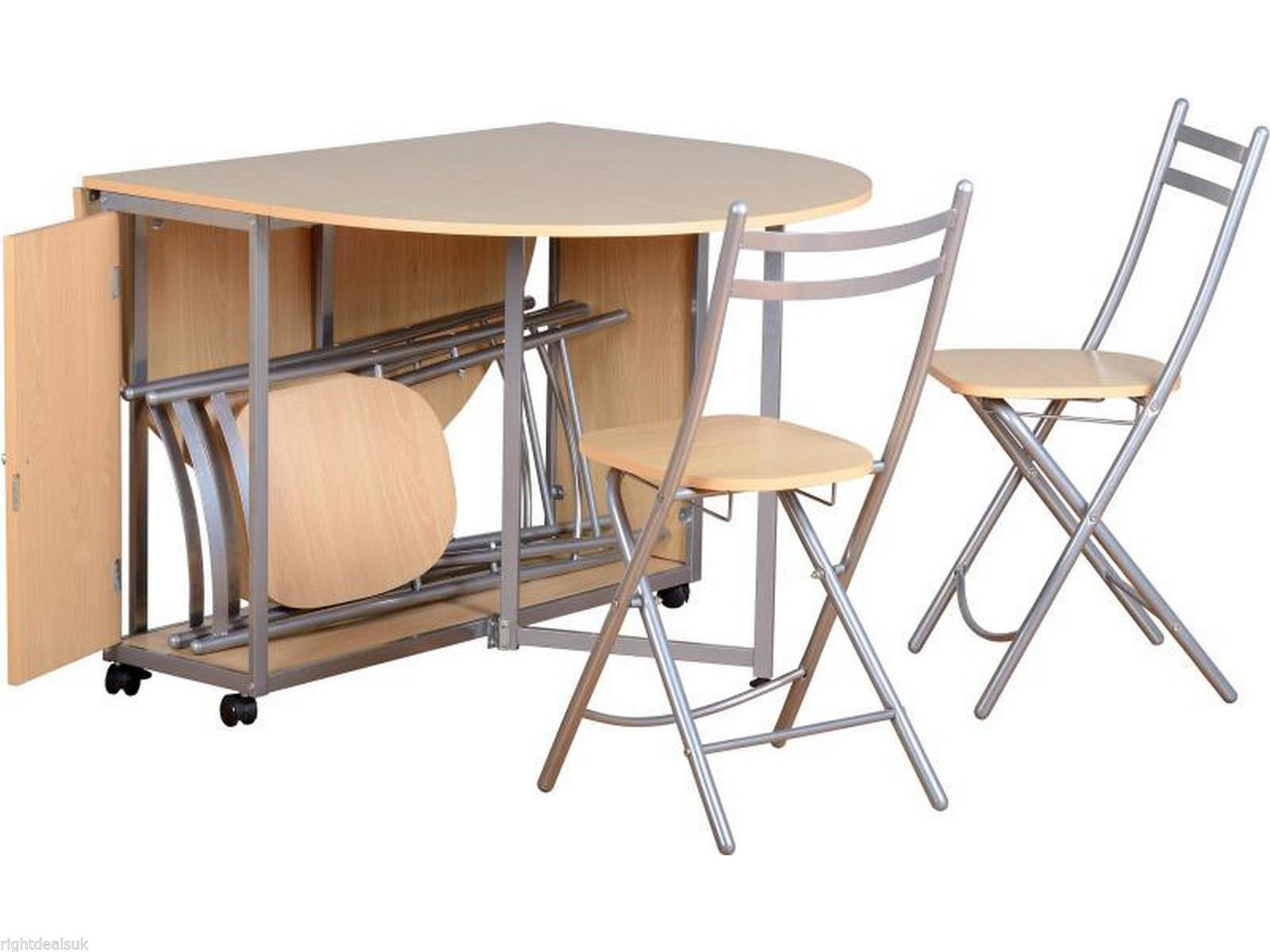 Butterfly Beech Dining Set with 4 Silver foldaway chairs.  sc 1 st  Amazon UK & Folding Table and Chairs Set: Amazon.co.uk