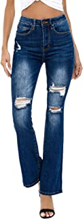 Sponsored Ad - Resfeber Women`s Ripped Bootcut Jeans Distressed Flare Jeans Stretch Bell Bottom Jeans with Holes
